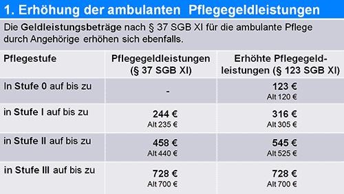 Pflegegeldleistungen 2015