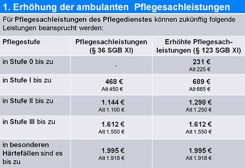 Pflegesachleistungen 2015